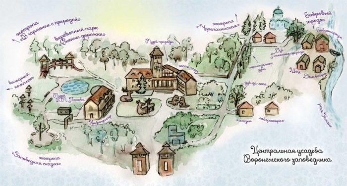 Схема Центральной усадьбы Воронежского заповедника